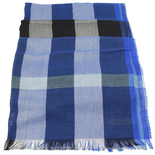 茱麗葉精品 全新精品 BURBERRY 3928350 英系經典格紋絲質羊毛披肩圍巾/絲巾.藍
