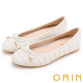 ORIN 時尚甜心 牛皮幾何三角沖孔平底娃娃鞋-白色
