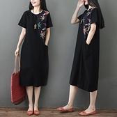 洋装 中大尺碼 2021夏季棉麻民族風寬鬆大碼拼接印花A擺連身裙女中長裙
