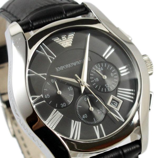 【萬年鐘錶】 EMPORIO ARMANI 時尚皮帶三眼腕錶 銀殼 黑灰錶面 黑皮帶 42mm AR1633