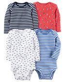 【美國Carter's】長袖純棉包屁衣4件組 - 海洋條紋系列 126G600