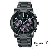 agnes b. 中性紫三眼碼表日期黑鋼錶 38mm BT3032X1 VD53-KP30P 公司貨   名人鐘錶高雄門市