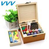 VVV實木針線盒套裝手工針線套裝手縫家用縫紉線收納盒針線包禮品吾本良品
