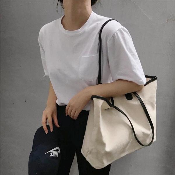 新款ins簡約撞色帆布包手提布包購物袋大容量側背包休閒女包  宜室家居