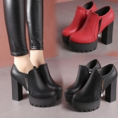 高跟馬丁靴女2018新款春秋季粗跟紅色婚靴防水臺單鞋短靴職業女鞋  喵小姐