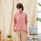 【Tiara Tiara】百貨同步新品aw  胸前小口袋素色襯衫(粉紅/米灰)