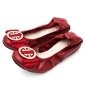 G.Ms. 圓飾蝴蝶結牛皮柔軟彎折平底娃娃鞋-紅色