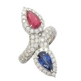 JEWELRY 1.19克拉紅寶石及1.46克拉藍寶石鑲鑽鉑金戒指 【BRAND OFF】