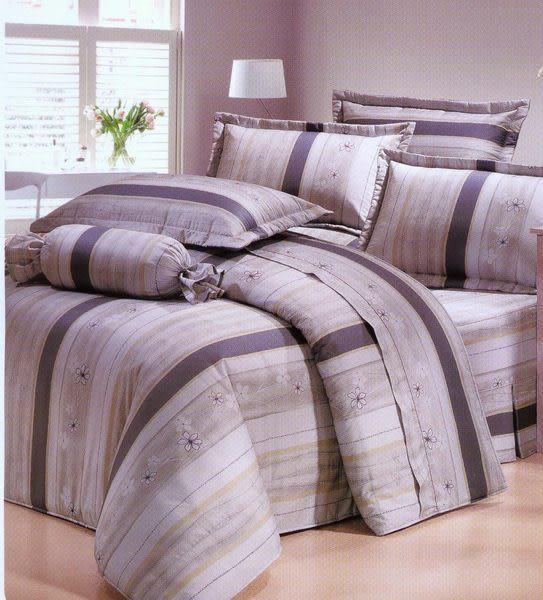 2535-灰、100% 精梳棉 【床包5X6.2尺/枕套X2/涼被】4件組 台灣製