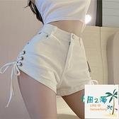 高腰白色牛仔褲女夏闊腿顯瘦綁帶褲子休閒超短褲熱褲【風之海】