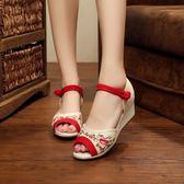 復古老北京布鞋繡花鞋 腳環搭扣高跟魚嘴露趾涼鞋棉麻森女鞋單鞋夏