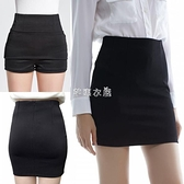 簡設2021中長款高腰職業裙包臀裙安全褲黑半身裙OL高彈力一步裙女 快速出貨