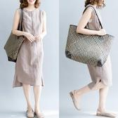 大碼洋裝 女裝夏季新款棉麻立領無袖背心裙休閒百搭收腰顯瘦連衣裙 中秋降價