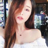 日韓簡約時尚18K玫瑰金鈦鋼雙面黑白貝殼短款項?鎖骨?吊墜女