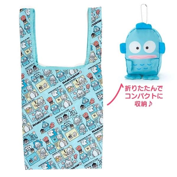 小禮堂 人魚漢頓 折疊尼龍環保購物袋 折疊環保袋 側背袋 手提袋 (藍 生日漫畫) 4550337-44517