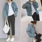 2018秋裝女裝寬鬆顯瘦磨白長袖牛仔外套女學生韓版休閒BF牛仔衣潮