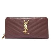 SAINT LAURENT YSL 聖羅蘭 酒紅色山形紋牛皮ㄇ字型拉鍊長夾Monogram Wallet BRAND OFF
