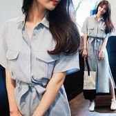 618好康鉅惠文藝學生短袖長裙長款雪紡襯衫綁帶連身裙
