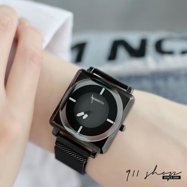 Lacuna.REBIRTH品牌。炫黑方形切角玻璃磁吸金屬網帶米蘭帶錬帶手錶【ta070】911 SHOP