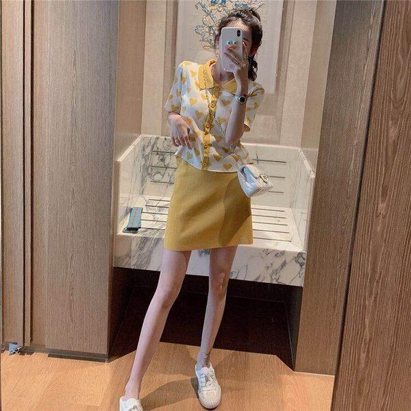 VK旗艦店 韓系甜美愛心針織套裝短袖裙裝