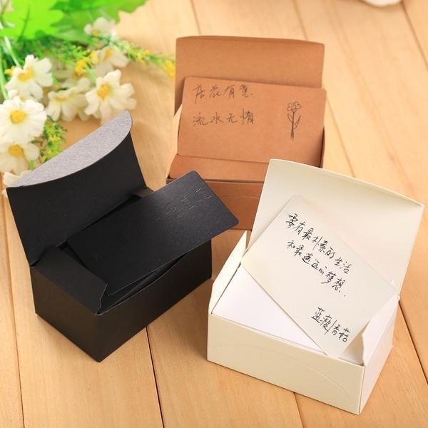 【BlueCat】懷舊復古純色便條紙 (90入)  便簽 單字卡 留言卡 牛皮紙 空白 卡片 厚230磅