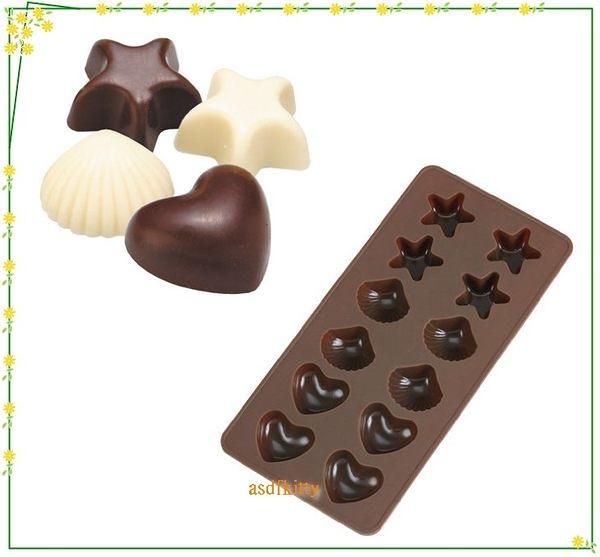 廚房【asdfkitty可愛家】貝印矽膠模型-星星貝殼愛心-做巧克力.果凍.蛋糕.冰塊.手工皂-日本正版