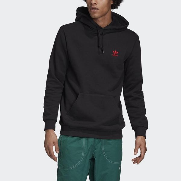 【現貨】Adidas Originals ESSENTIALS 男裝 長袖 連帽 帽T 袋鼠口袋 刺繡 純棉 黑 【運動世界】GD2570