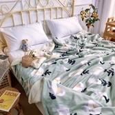 極柔牛奶絨羊羔絨雙層保暖毯-綠色小花 BUNNY LIFE