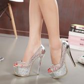 高跟鞋 春夏新款蕾絲高跟女涼鞋 歐美性感淺口防水臺細跟單鞋魚嘴女鞋子-CY潮流站