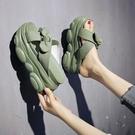 增高拖鞋 拖鞋女外穿時尚爆款夏季款蝴蝶結增高厚底鬆糕涼拖-Ballet朵朵