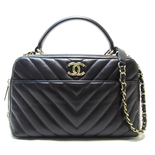 CHANEL 香奈兒 黑色保齡球包 Flap Bag with Top Handle Chevron Bag【BRAND OFF】