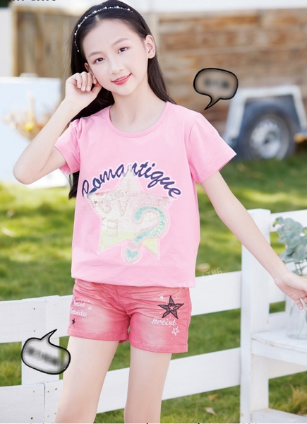 大童 繽紛亮片字母星星短T 春夏童裝 女童棉T 女童上衣 女童短袖 女童T恤