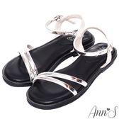 Ann'S百搭韓系-軟金屬斜帶寬版平底涼鞋-銀