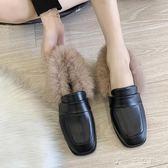 英倫風小皮鞋毛毛鞋女新款chic外穿百搭方頭學生粗跟單鞋 千千女鞋