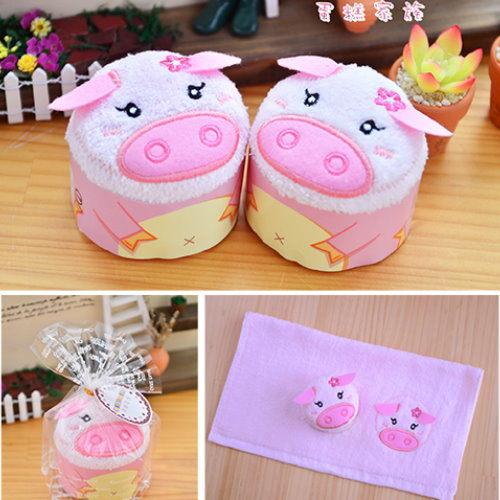蛋糕毛巾.動物造型毛巾--粉紅豬 【台灣興隆毛巾製*歐米亞小舖嚴選】MIT專利商品