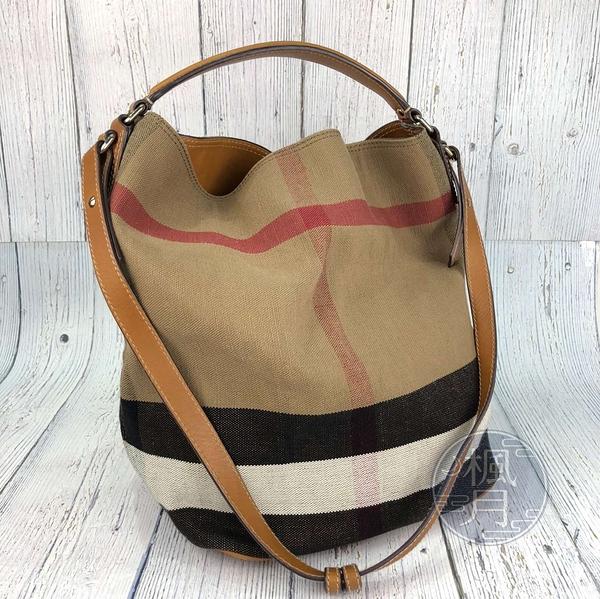 BRAND楓月 BURBERRY 巴寶麗 經典 帆布 大格紋 水桶包 肩背包 手提包