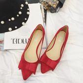 韓版尖頭絨面淺口百搭黑色低跟單鞋女中跟鞋紅色小跟女鞋婚鞋    初語生活