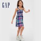 Gap 女童 輕盈質感格紋吊帶洋裝 578269-丁香紫