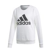 adidas 長袖T恤 MH BOS Sweatshirt 白 黑 女款 運動休閒 【PUMP306】 DX7965