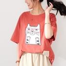 【慢。生活】眼鏡貓咪繡布休閒T恤 1560  FREE 橘色