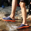 包頭涼鞋男士洞洞鞋冬季遊泳涉水防滑塑料沙灘鞋原宿大頭拖鞋塑膠
