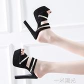 歐美性感女鞋夜店粗跟防水台14cm/15公分超高跟涼拖鞋恨天高夜場  一米陽光