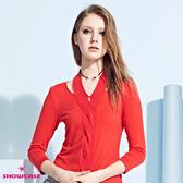 【SHOWCASE】優雅麻花結頸造型早春薄款針織上衣(紅)