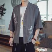 【免運快出】 亞麻短袖男夏季中國風潮流刺繡中式復古漢服唐裝寬鬆胖子棉麻外套 奇思妙想屋