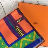 BRAND楓月 HERMES 愛馬仕 橘色 圖案 圖騰 幾何 方巾 絲巾 圍巾 披肩