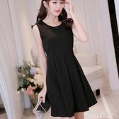 新款韓版顯瘦純色女裝修身大碼無袖時尚百搭洋裝 黛尼時尚精品