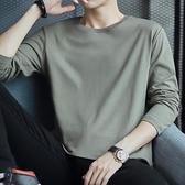 長袖t恤男純棉秋季薄款潮流寬鬆圓領灰色上衣服青少年內搭打底衫 雙十二購物節