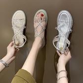 韓版一字扣露趾涼鞋女夏季新款仙女風水鑚羅馬鞋女平底水晶鞋  【快速出貨】時尚