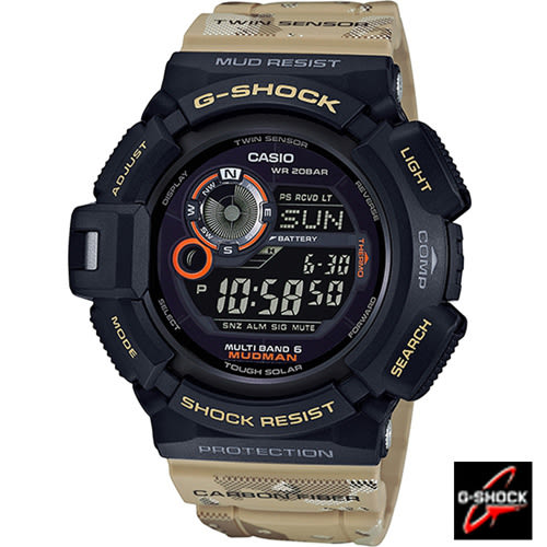 G-SHOCK 強悍軍事迷彩風運動電波錶 GW-9300DC-1 黑x卡其