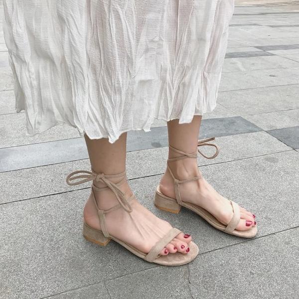 熱賣低跟鞋一字網紅綁帶涼鞋女仙女風學生百搭低跟粗跟中跟2021新款羅馬平底 【618 狂歡】